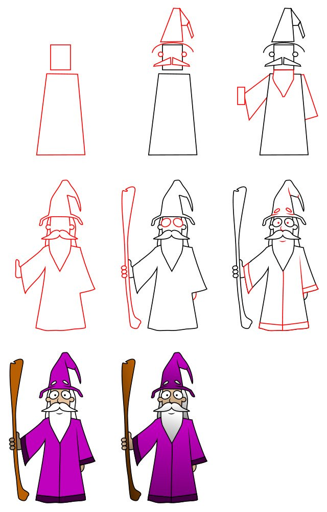 How to draw cartoon characters - a wizard
