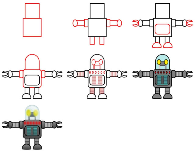 How to draw cartoon characters - robot