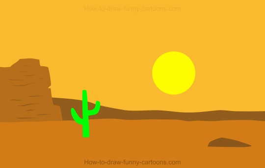 How to Draw A Cartoon Desert