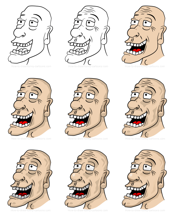 Cartoon people and body parts: old head