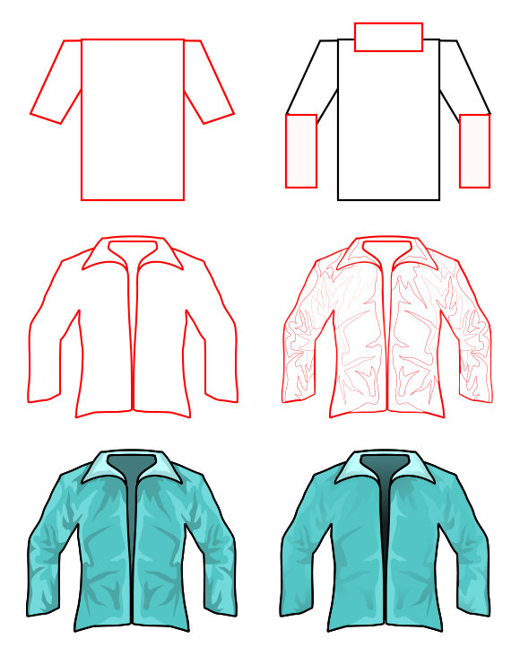 Cartoon people and body parts: jacket