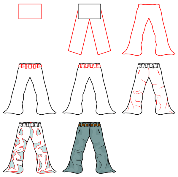 Cartoon people and body parts: pants