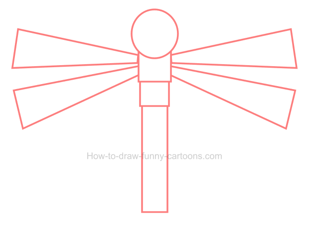 How to draw a cute dragonfly clipart