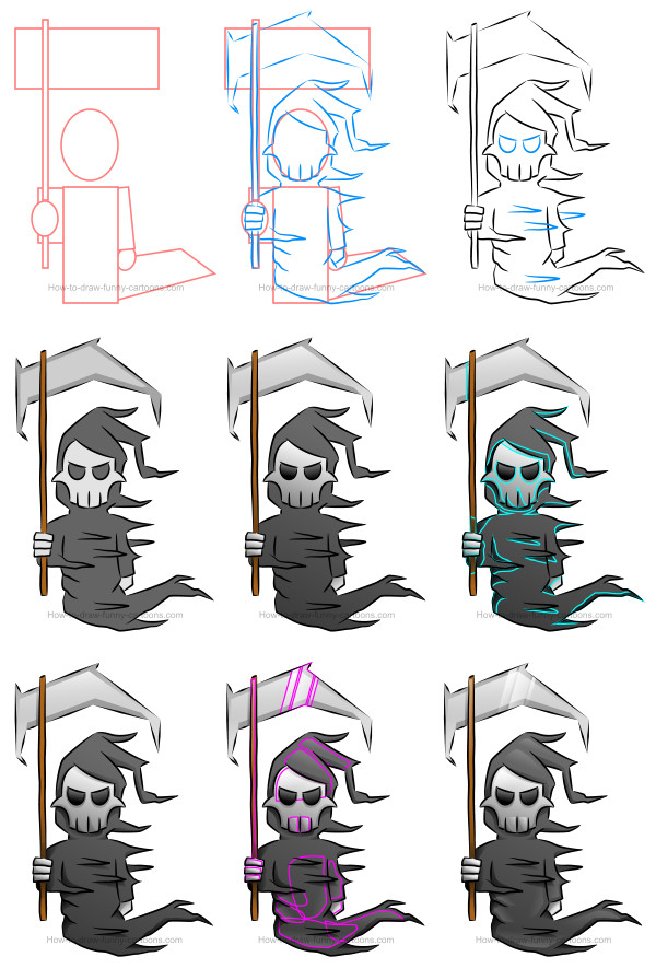 How to draw a death cartoon character