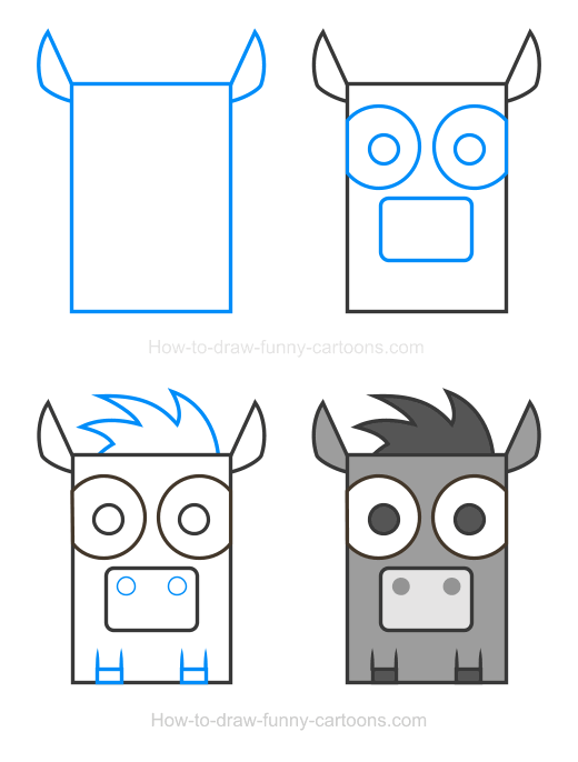How to Draw a Donkey Clipart