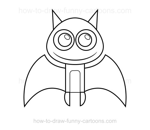 Cartoon Characters You Can Draw : How to draw a bat