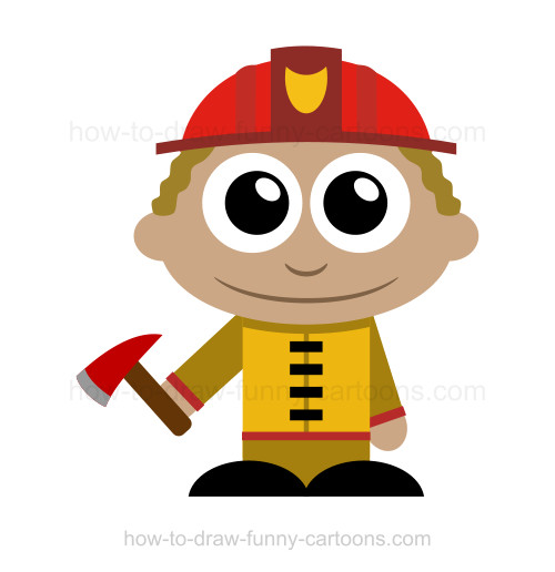 How to draw cartoon characters: Firefighter