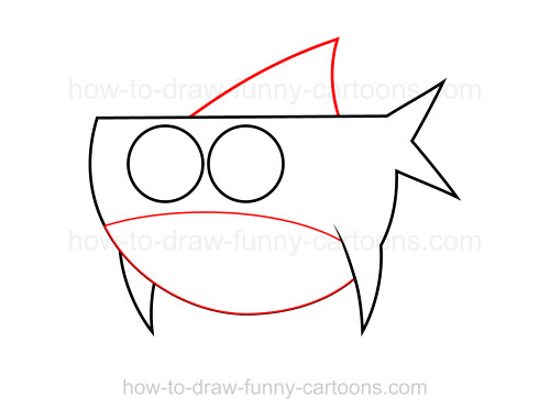 how to draw a cartoon shark step by step