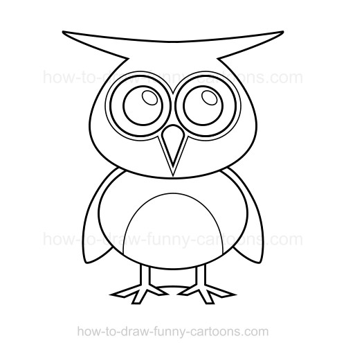 Cartoon Characters You Can Draw : How to draw an owl