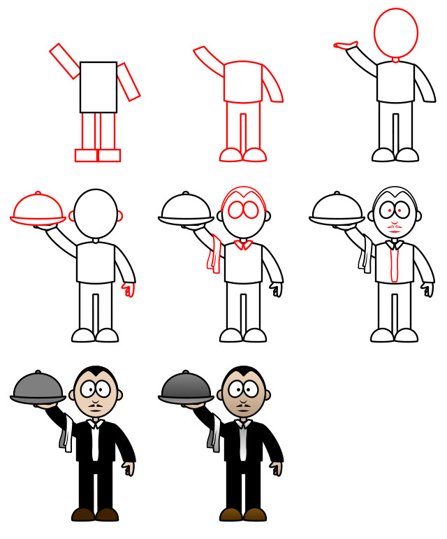 How to draw - waiter