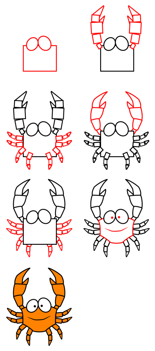 How to draw animals : Crab