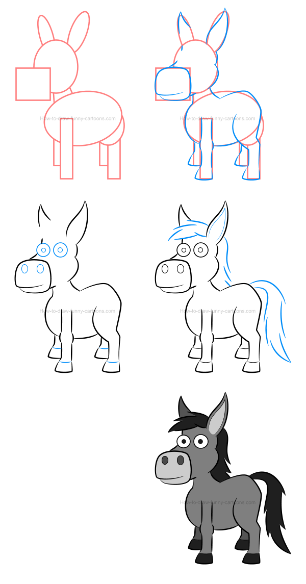 How to draw an illustration of a donkey
