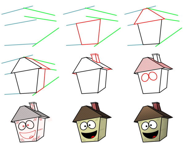 Learn how to draw cartoons (Places) - House