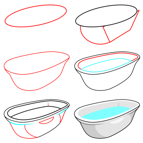 Learn to draw objects : bathtub