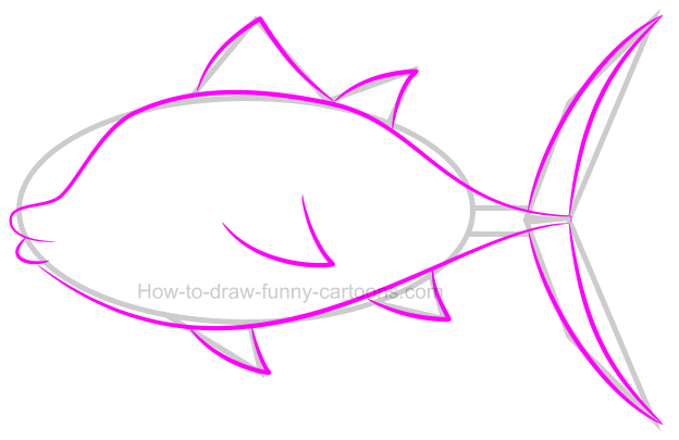 How to draw a long fin tuna
