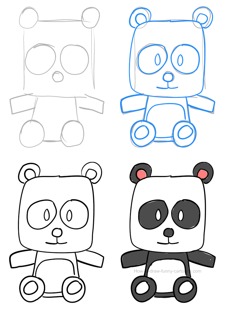 How to draw a panda pictures & video