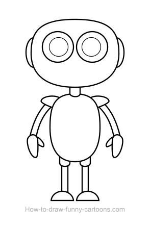 how to draw a robot easy