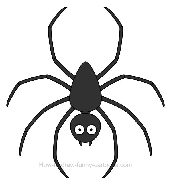 How to draw a spider clip art