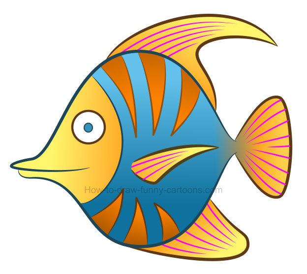 How to draw a tropical fish clipart