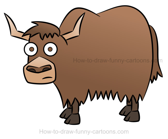 How to draw a yak cartoon